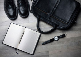 Marketing briefcase and tie
