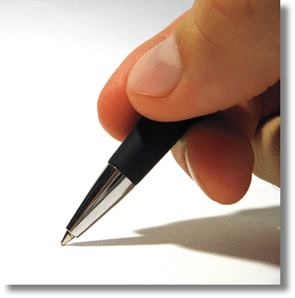 A pen writing a marketing plan